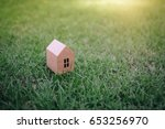 house paper model on grass with ...   Shutterstock . vector #653256970