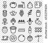 set of 25 leaf outline icons... | Shutterstock .eps vector #653259604