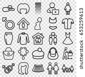 set of 25 outline icons such as ...   Shutterstock .eps vector #653259613
