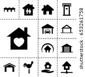 set of 13 filled roof icons... | Shutterstock .eps vector #653261758