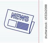 newspaper sign. vector. navy... | Shutterstock .eps vector #653262088
