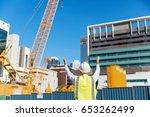 engineer builder at... | Shutterstock . vector #653262499