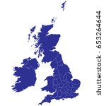 high detailed blue vector map   ... | Shutterstock .eps vector #653264644