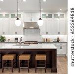 kitchen interior with island ... | Shutterstock . vector #653264818