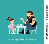 happy father's day greeting... | Shutterstock .eps vector #653265589