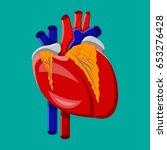 human heart. internal organ.... | Shutterstock .eps vector #653276428
