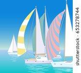 yacht regatta on wave blue sea... | Shutterstock .eps vector #653278744