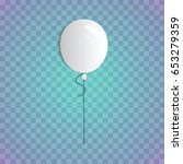 white realistic balloon on a... | Shutterstock .eps vector #653279359