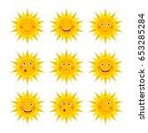 set of funny sun icon... | Shutterstock .eps vector #653285284