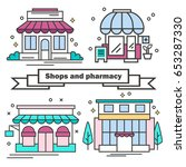 set of shops in a linear style. ... | Shutterstock .eps vector #653287330