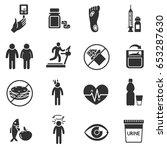 diabetes. monochrome icons set. ...   Shutterstock .eps vector #653287630