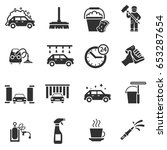 auto wash. monochrome icons set.... | Shutterstock .eps vector #653287654