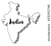 hand drawn  of india map ... | Shutterstock .eps vector #653292748