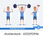 funny cartoon man doing sports...   Shutterstock .eps vector #653292946