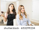 portrait of a happy and... | Shutterstock . vector #653299234