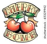 tattoo design of two cherries... | Shutterstock .eps vector #65329942