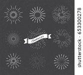 set of vintage sunbursts. | Shutterstock .eps vector #653300278