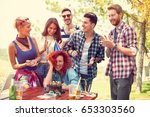 girl celebrates birthday in... | Shutterstock . vector #653303560