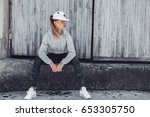 fitness sporty girl wearing... | Shutterstock . vector #653305750