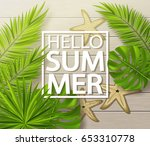 hello summer background with... | Shutterstock .eps vector #653310778
