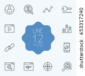 set of 12 search outline icons...