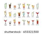 popular alcoholic cocktails...   Shutterstock .eps vector #653321500