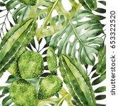 watercolor hand drawn seamless... | Shutterstock . vector #653322520