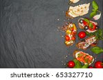 appetizer bruschetta with pear  ... | Shutterstock . vector #653327710