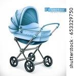 baby carriage. stroller 3d... | Shutterstock .eps vector #653329750