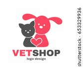 Stock vector vetshop dog and cat logo design template vet shop veterinarian veterinary animals pets concept 653329936