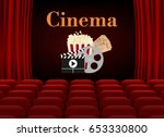 movie theater with row of red... | Shutterstock .eps vector #653330800