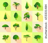 tree type forms icons set. flat ... | Shutterstock .eps vector #653331484