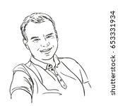 hand drawn happy man  vector... | Shutterstock .eps vector #653331934