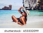 summer lifestyle portrait of... | Shutterstock . vector #653332099