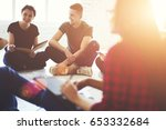cheerful young hipster guys... | Shutterstock . vector #653332684