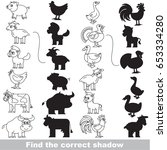 colorless farm animals set with ... | Shutterstock .eps vector #653334280