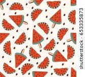 seamless vector background cute ... | Shutterstock .eps vector #653335873