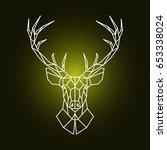 geometric reindeer head... | Shutterstock .eps vector #653338024