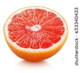 ripe half of pink grapefruit... | Shutterstock . vector #653340433