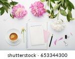 flat lay fashion feminine home... | Shutterstock . vector #653344300