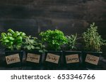 fresh herbs on the wooden... | Shutterstock . vector #653346766