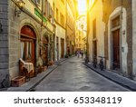 Narrow street in Florence, Tuscany, Italy. Architecture and landmark of Florence. Cozy Florence cityscape