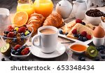 breakfast served with coffee ... | Shutterstock . vector #653348434