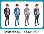 happy elegant businessman in... | Shutterstock .eps vector #653348914