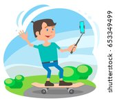 the video blogger in the park... | Shutterstock .eps vector #653349499