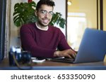 half length portrait of smiling ... | Shutterstock . vector #653350090