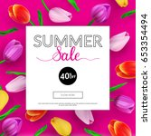 summer sale banner with... | Shutterstock .eps vector #653354494