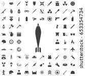 Military Mortar Bomb Icon. Set...