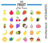 fruit flat icon set  food... | Shutterstock .eps vector #653360053