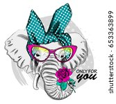 vector elephant with pink... | Shutterstock .eps vector #653363899